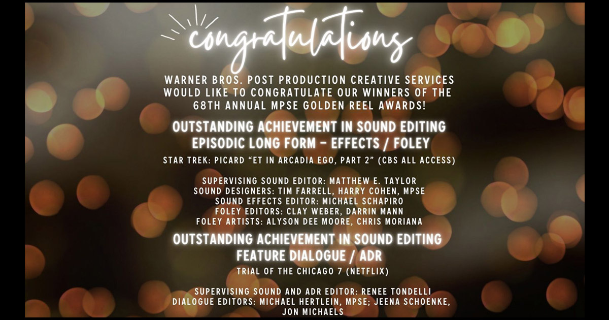 Congratulations to Our Winners of the 68th Annual MPSE Golden Reel Awards